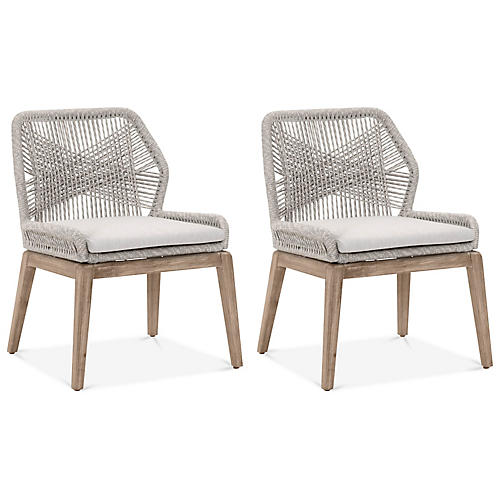S/2 Loom Outdoor Side Chairs, Light Gray