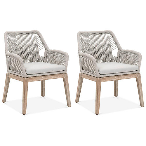 S/2 Easton Armchairs, Taupe/White