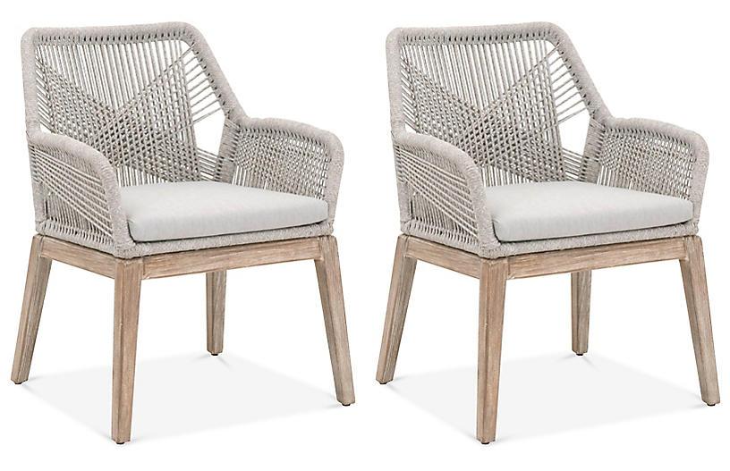 S/2 Easton Armchairs, Taupe/White