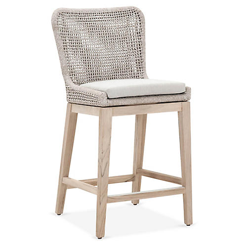 Roux Outdoor Counter Stool, Taupe/White