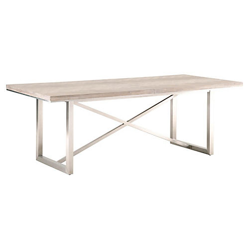 Burrell Extension Dining Table, Natural Gray