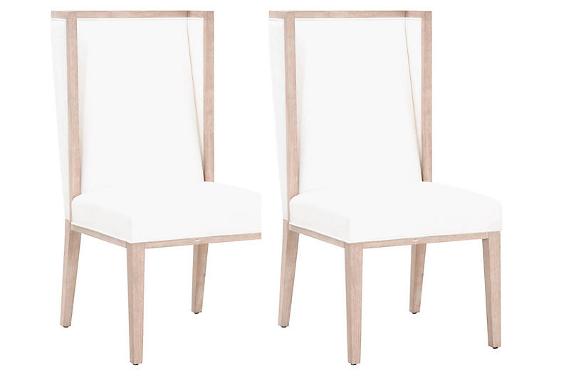 S/2 Armel Wingback Side Chairs, Pearl