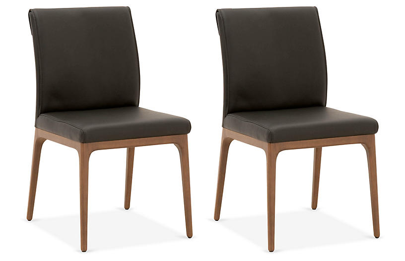S/2 Russell Side Chairs, Black Leather