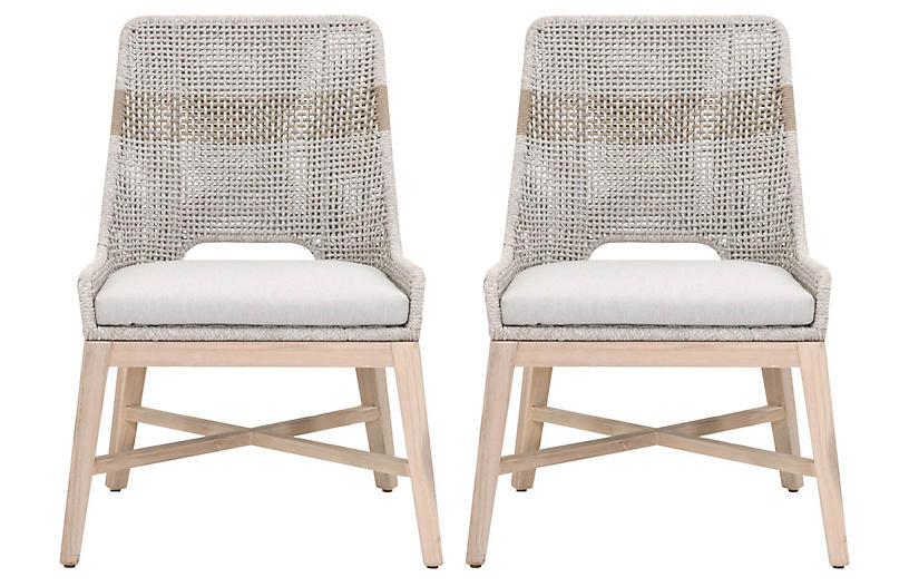 S/2 Tapestry Outdoor Dining Chairs, Taupe/Natural