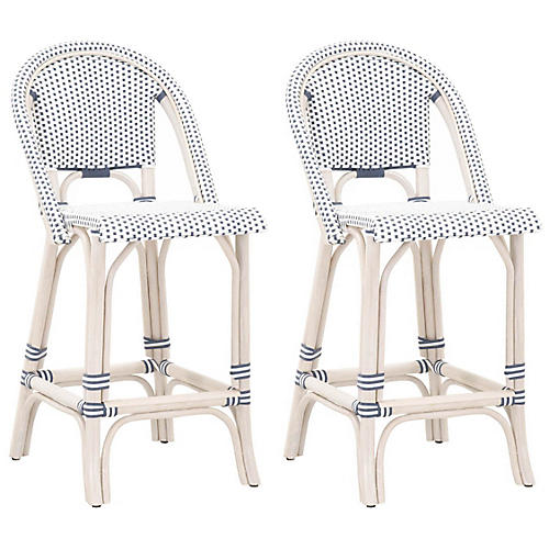S/2 Caen Outdoor Counter Stools, White/Blue