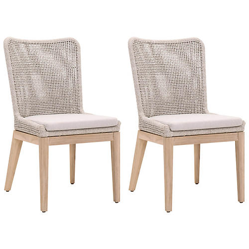 S/2 Roux Outdoor Side Chairs, Gray