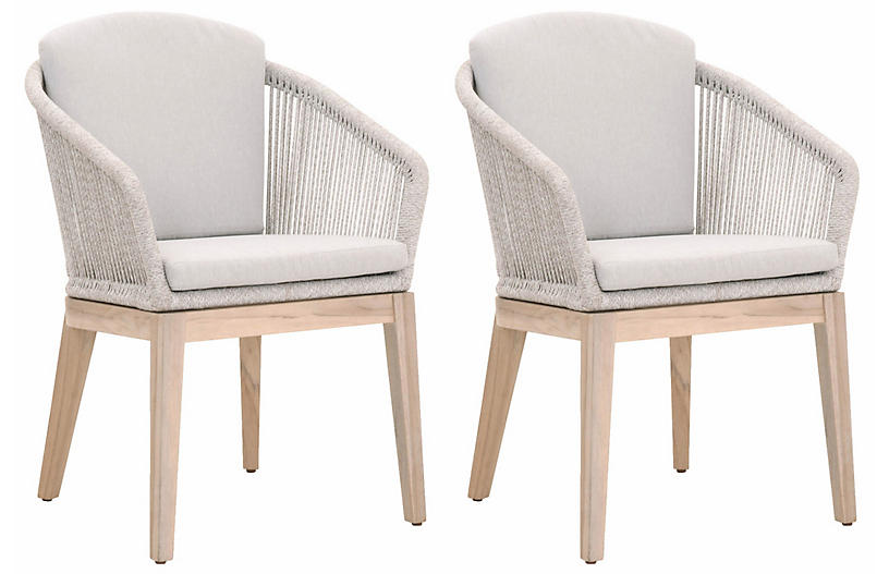 S/2 Florin Outdoor Side Chairs, Taupe