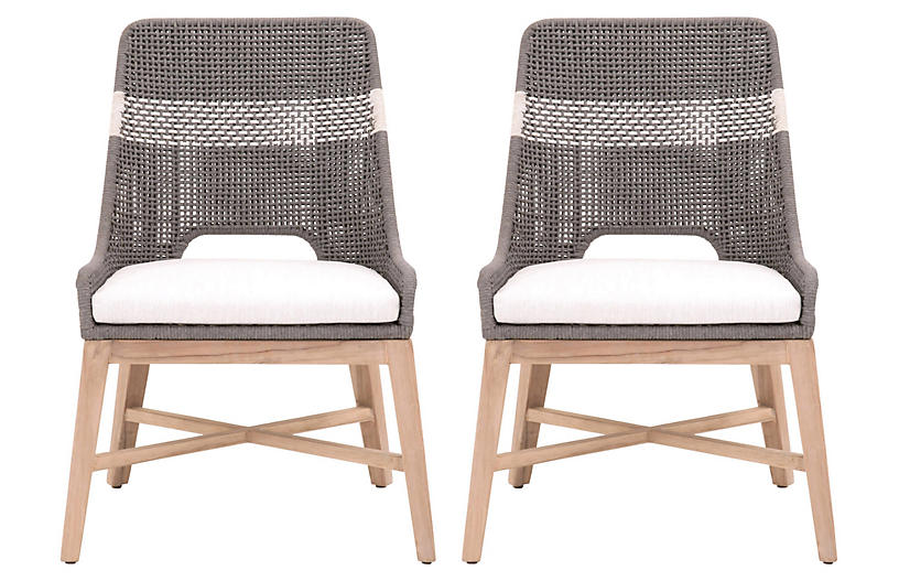 S/2 Tapestry Outdoor Dining Chairs, Dove