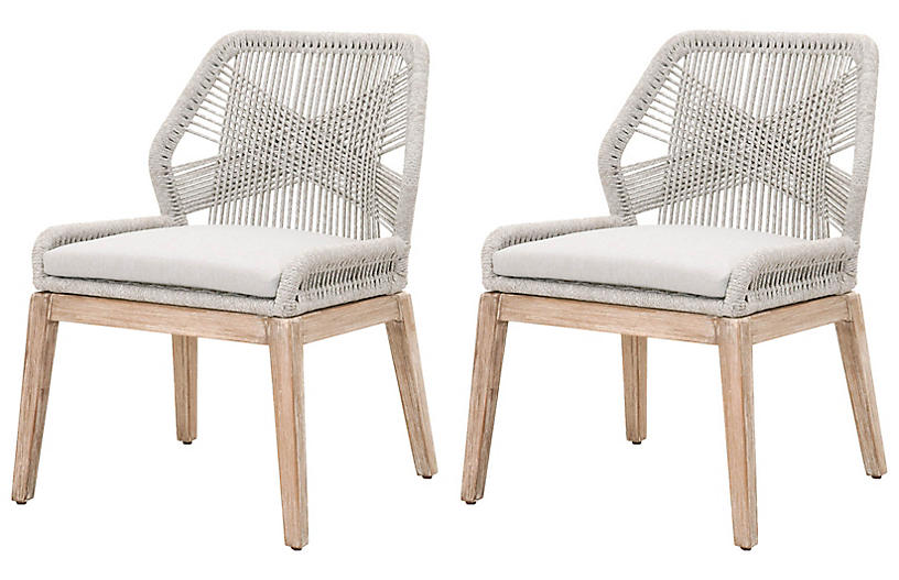 S/2 Easton Rope Side Chairs, Taupe/Pumice