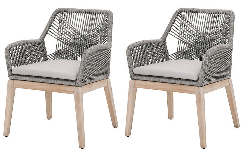 S/2 Easton Rope Outdoor Armchairs, Platinum/Gray