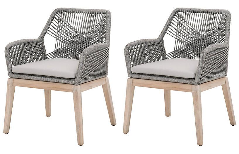 S/2 Easton Outdoor Rope Armchairs, Platinum