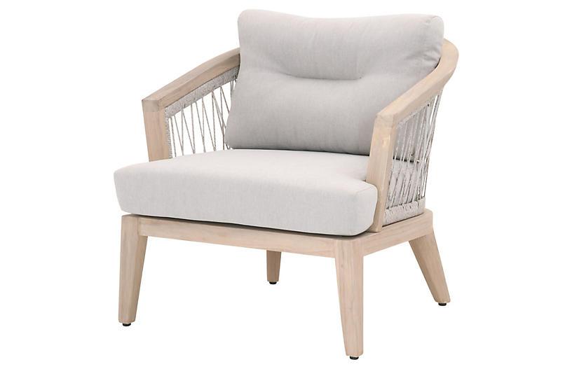 Olivia Outdoor Club Chair, Gray Teak/Beige