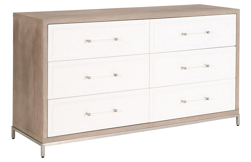 Riley 6-Drawer Double Dresser, Natural Gray/White