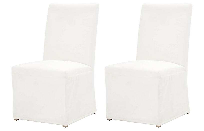 S/2 Performance Leah Slipcover Dining Chair, Natural Gray/Pearl