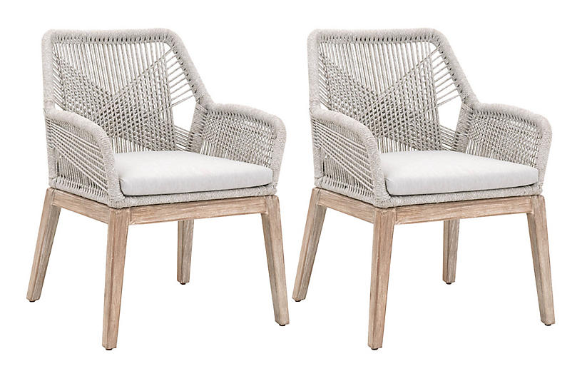 S/2 Easton Armchairs, Taupe/Pumice