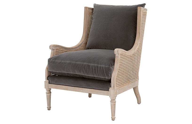 Winnie Club Chair, Dark Dove Velvet