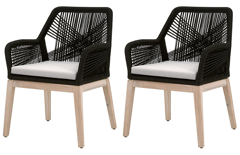 S/2 Easton Outdoor Rope Armchairs, Black