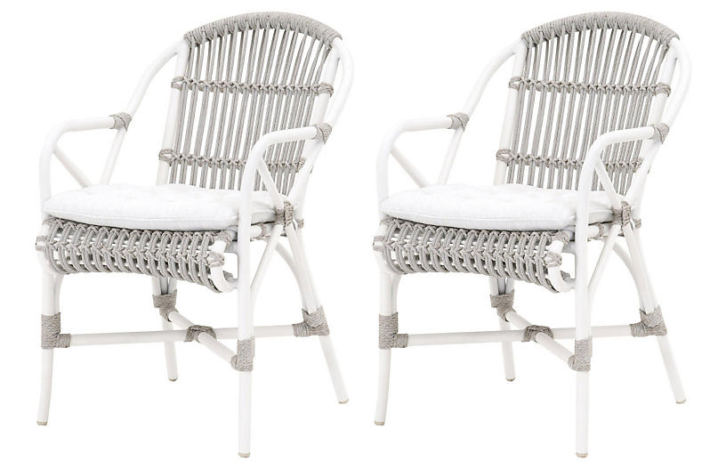 S/2 Watson Outdoor Armchair, Brushed Brass/Lucite
