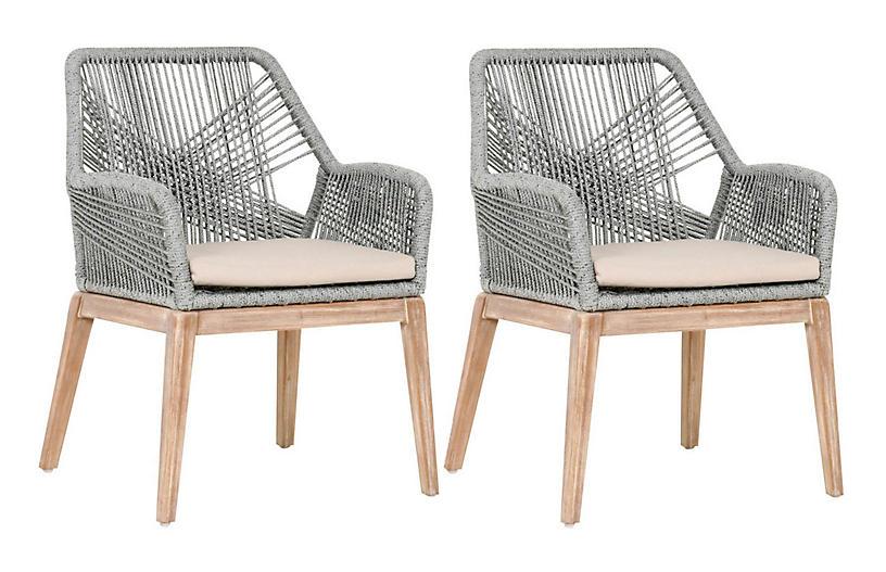 S/2 Easton Rope Armchairs, Platinum/Light Gray