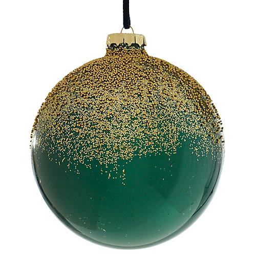 Frost Ball Ornament, Emerald/Gold