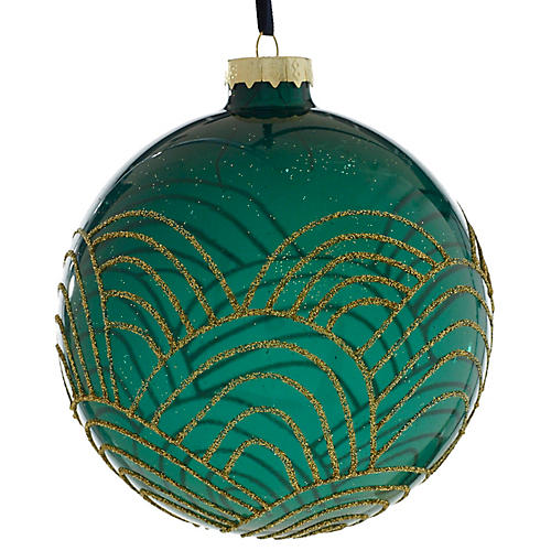 Andes Ball Ornament, Emerald/Gold