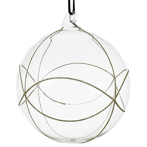 Elate Ball Ornament, Clear/Silver
