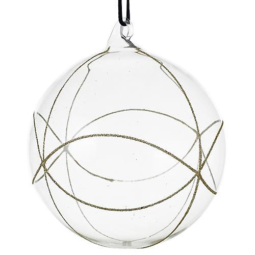 Elate Ball Ornament, Clear/Silver
