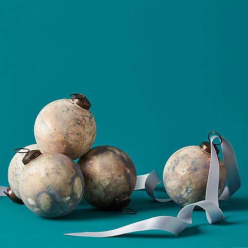 Organic Globe Ornament, Whitewash