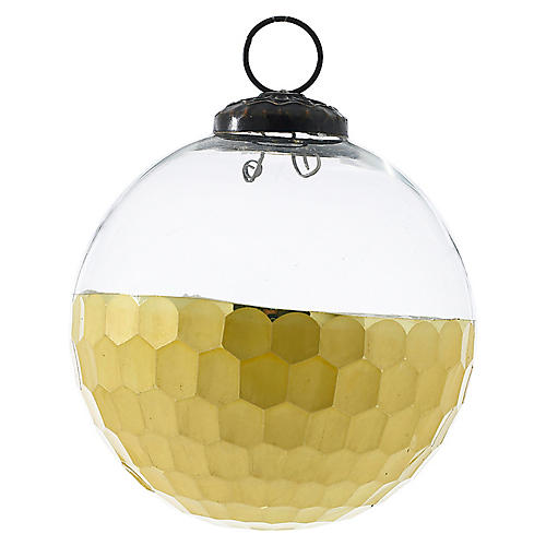 Honeycomb Ball Ornament, Gold/Clear