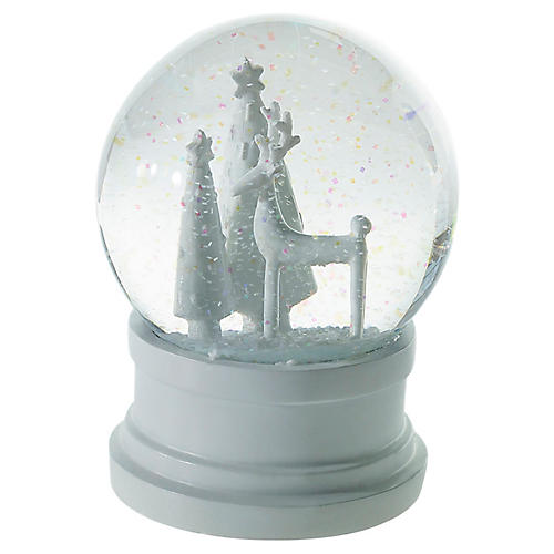 Silent Night Snow Globe, White