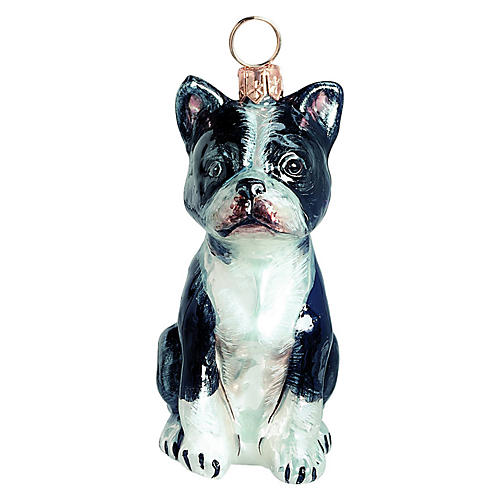 Boston Terrier Ornament, White/Black