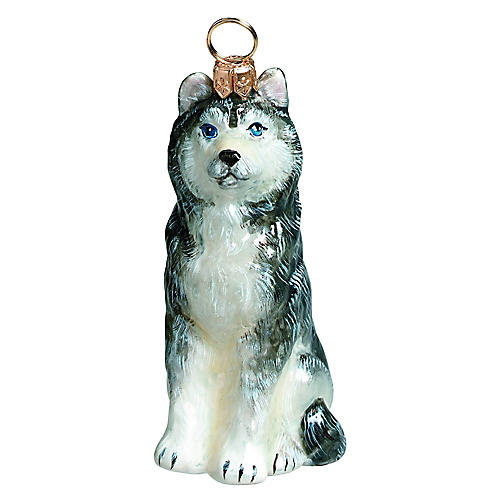 Siberian Husky Ornament, Gray/White