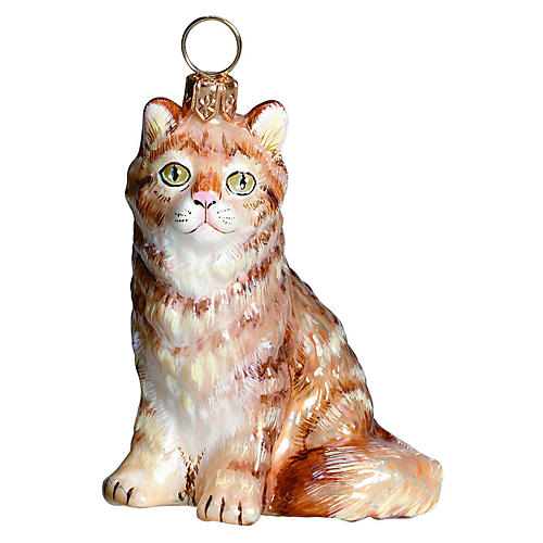 Maine Coon Cat Ornament, Red