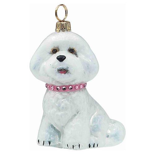 Bichon Frise Ornament, White/Pink