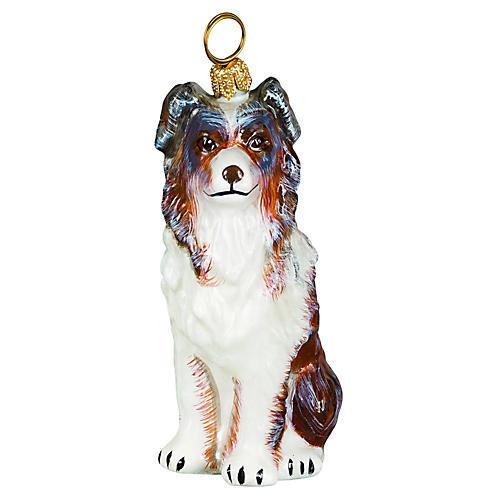 Australian Shepherd Ornament, White/Brown