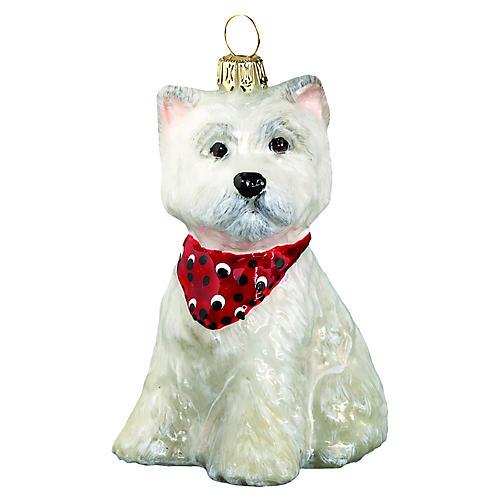 Westie Puppy Ornament, White