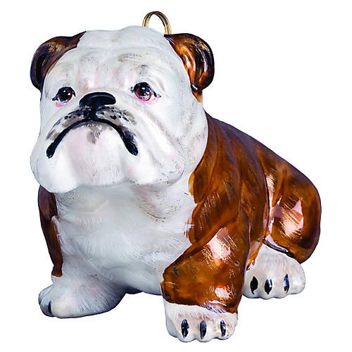 Bulldog Ornament, Brown/White