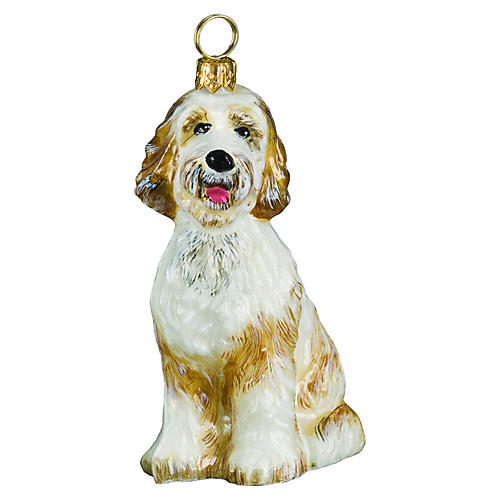 Goldendoodle Ornament, White/Yellow