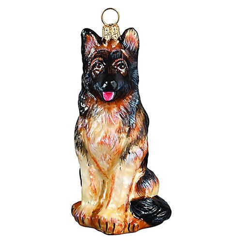 German Shepherd Ornament, Tan/Black