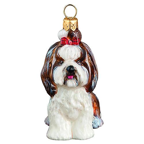 Eloise Shih Tzu Ornament, Brown/White