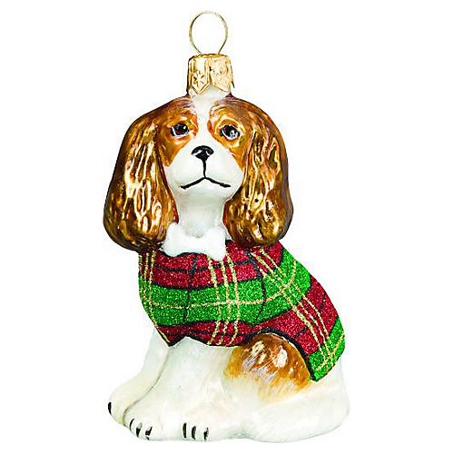 Cavalier King Charles Ornament, Tan/Red