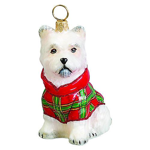 Westie Ornament, White/Red