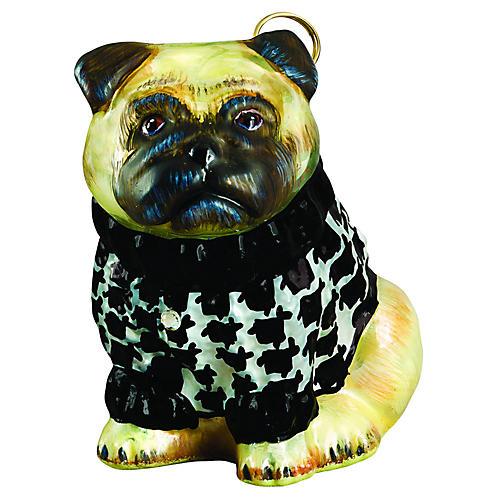 Pug Ornament, Yellow/Black