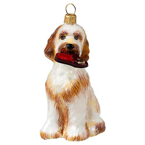 Goldendoodle w/ Slipper Ornament, Beige
