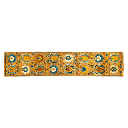 "2'6""x12'8"" Suzani Runner, Tan/Teal"