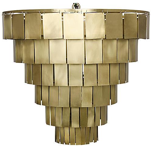 Shield Chandelier, Antiqued Brass