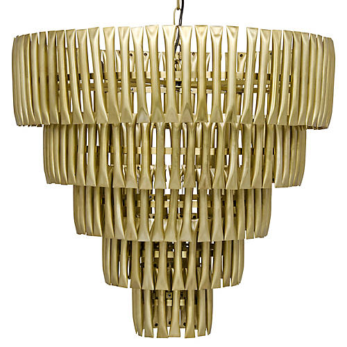 Lord 5-Tier Chandelier, Antiqued Brass