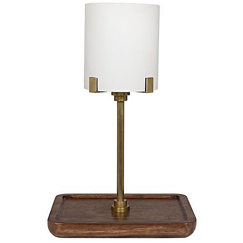 Altmann Table Lamp, Antiqued Brass/Walnut
