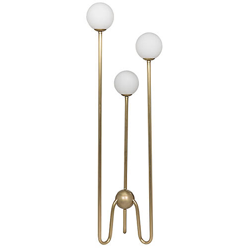 Seafield Floor Lamp, Antiqued Brass/White