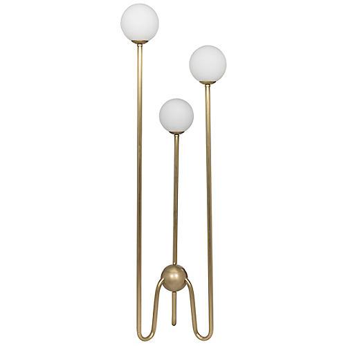 Seafield Floor Lamp, Antiqued Brass/White